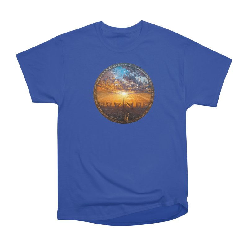 A Stained Glass Fractal Sunset Over Tianjin, China Men's Heavyweight T-Shirt by The Fractal Art of San Jaya Prime