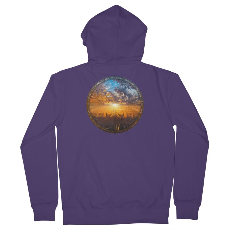 A Stained Glass Fractal Sunset Over Tianjin, China Women's French Terry Zip-Up Hoody by The Fractal Art of San Jaya Prime