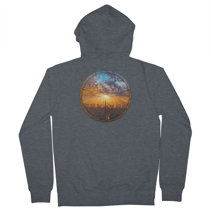 A Stained Glass Fractal Sunset Over Tianjin, China Men's French Terry Zip-Up Hoody by The Fractal Art of San Jaya Prime