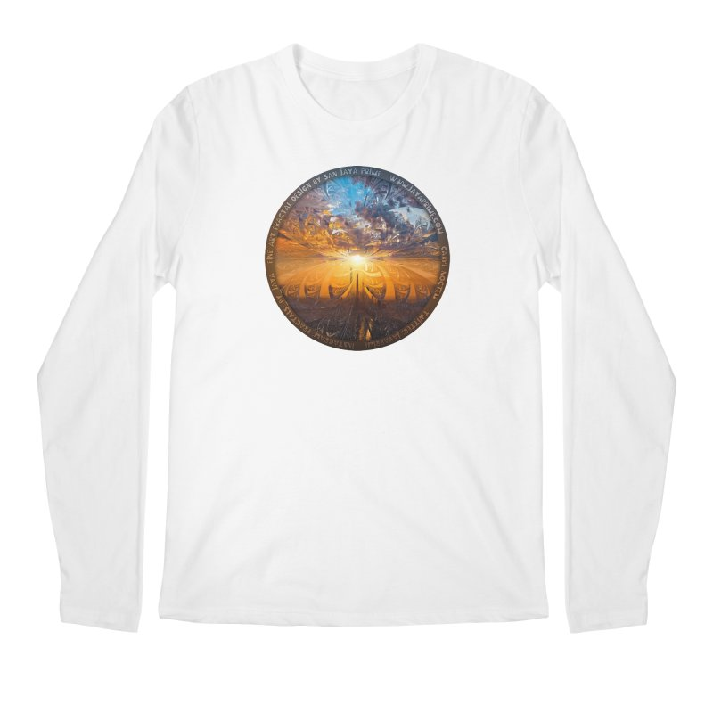 A Stained Glass Fractal Sunset Over Tianjin, China Men's Regular Longsleeve T-Shirt by The Fractal Art of San Jaya Prime