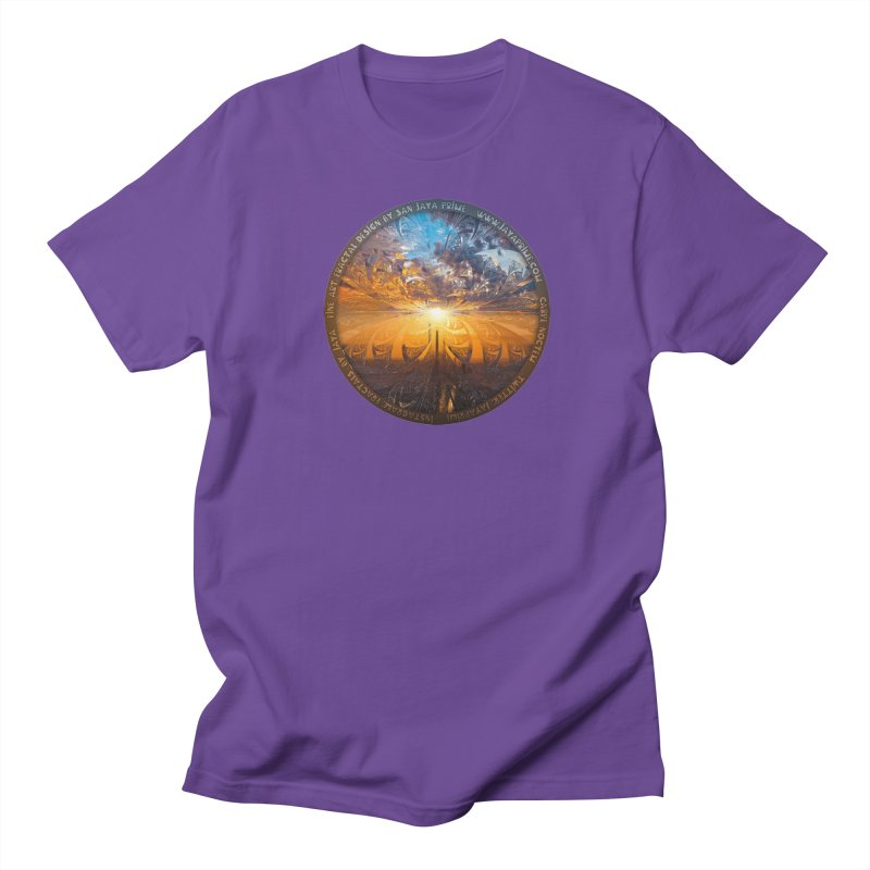 A Stained Glass Fractal Sunset Over Tianjin, China Women's Regular Unisex T-Shirt by The Fractal Art of San Jaya Prime