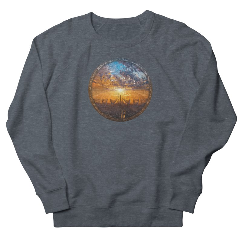 A Stained Glass Fractal Sunset Over Tianjin, China Men's French Terry Sweatshirt by The Fractal Art of San Jaya Prime
