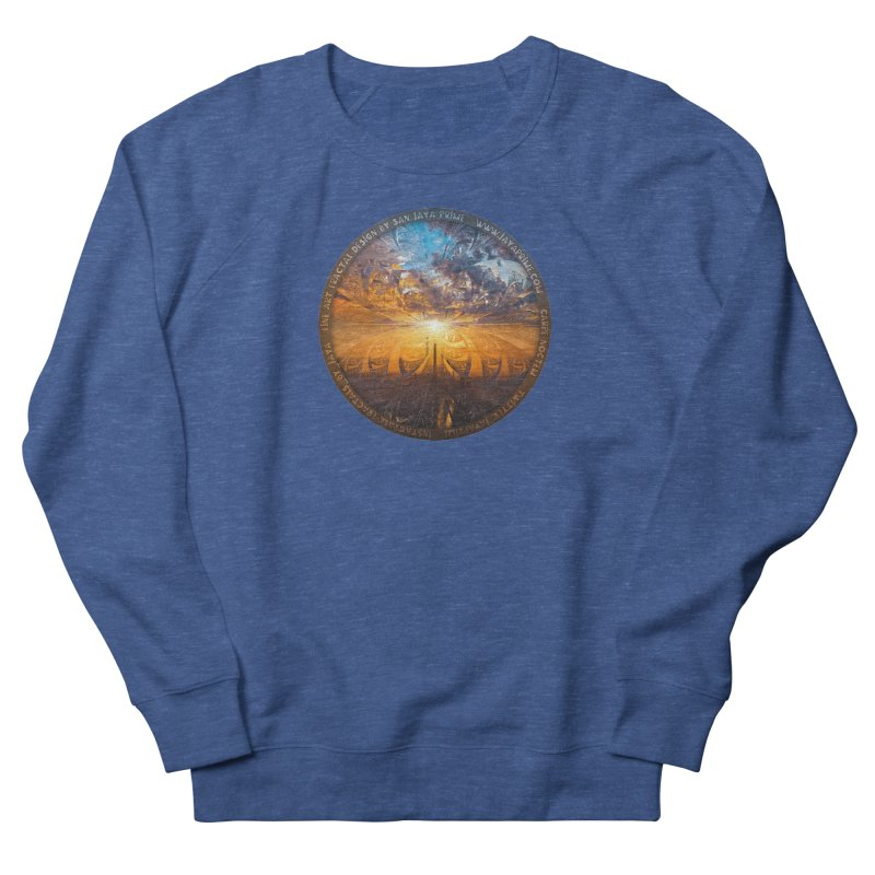 A Stained Glass Fractal Sunset Over Tianjin, China Men's Sweatshirt by The Fractal Art of San Jaya Prime