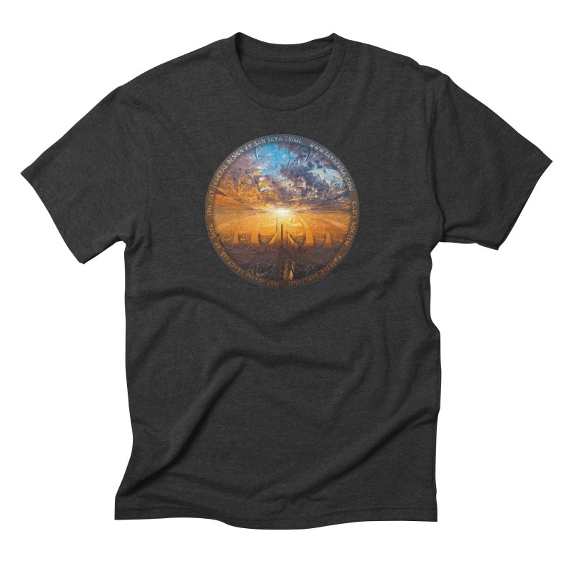 A Stained Glass Fractal Sunset Over Tianjin, China Men's Triblend T-Shirt by The Fractal Art of San Jaya Prime