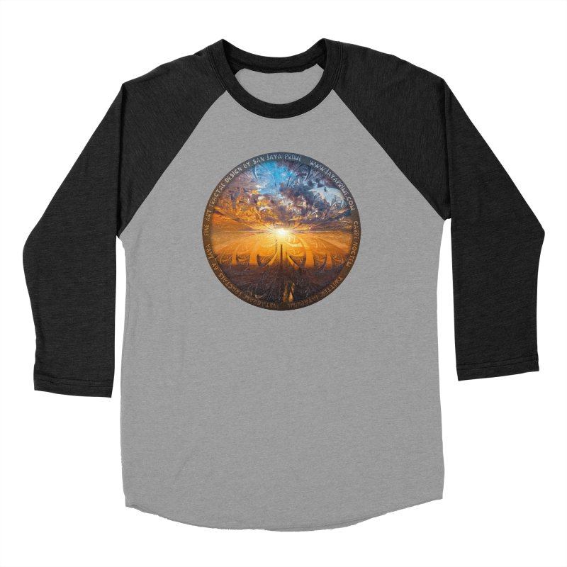 A Stained Glass Fractal Sunset Over Tianjin, China Men's Baseball Triblend Longsleeve T-Shirt by The Fractal Art of San Jaya Prime
