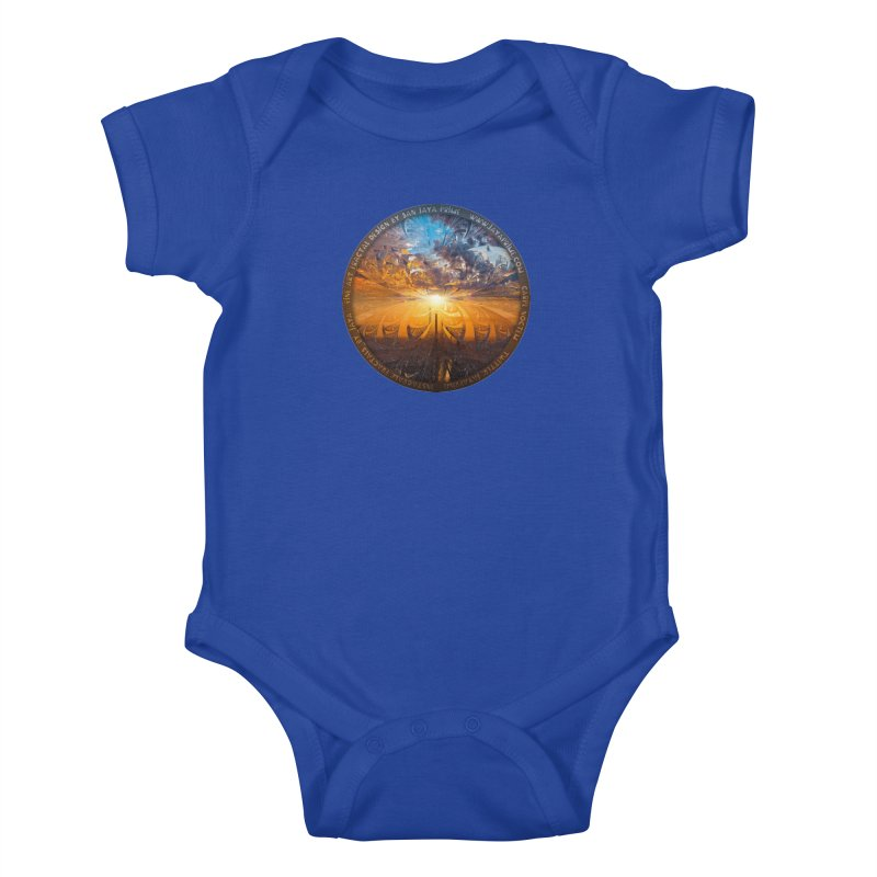 A Stained Glass Fractal Sunset Over Tianjin, China Kids Baby Bodysuit by The Fractal Art of San Jaya Prime