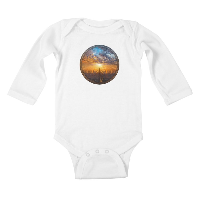 A Stained Glass Fractal Sunset Over Tianjin, China Kids Baby Longsleeve Bodysuit by The Fractal Art of San Jaya Prime