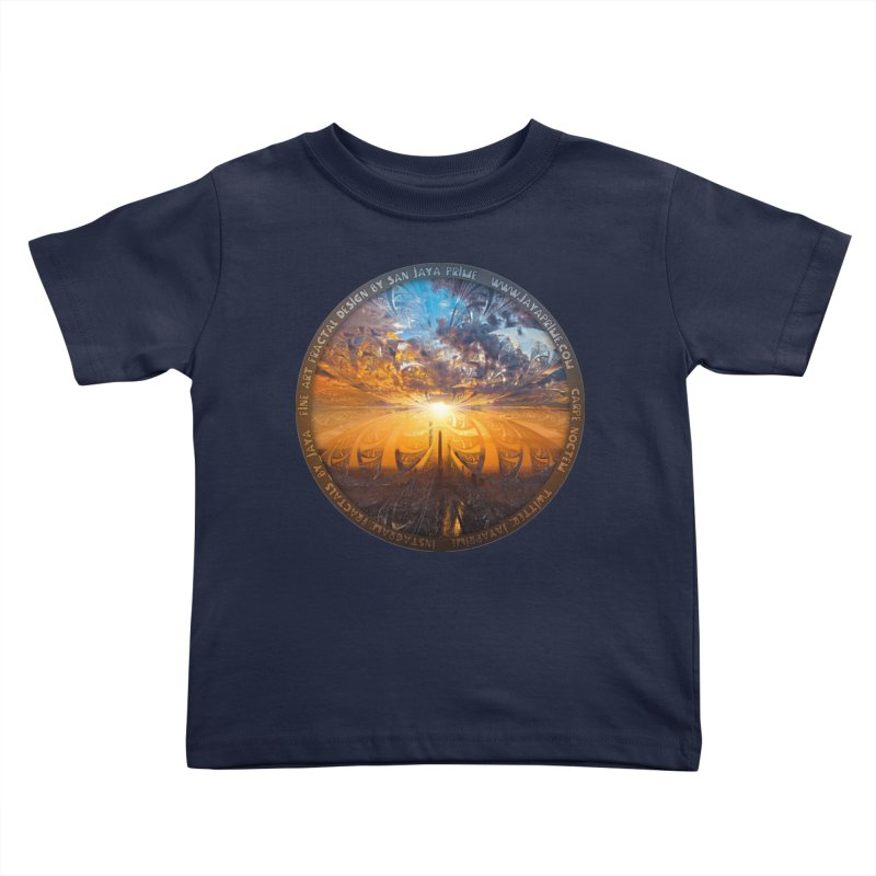 A Stained Glass Fractal Sunset Over Tianjin, China Kids Toddler T-Shirt by The Fractal Art of San Jaya Prime