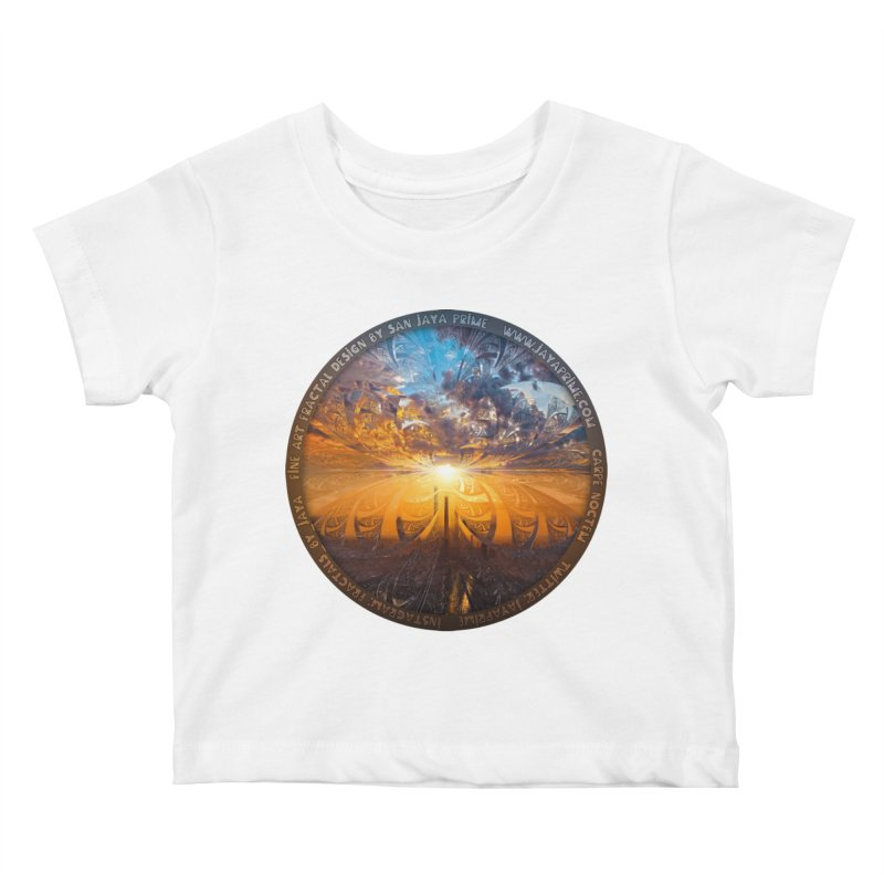 A Stained Glass Fractal Sunset Over Tianjin, China Kids Baby T-Shirt by The Fractal Art of San Jaya Prime