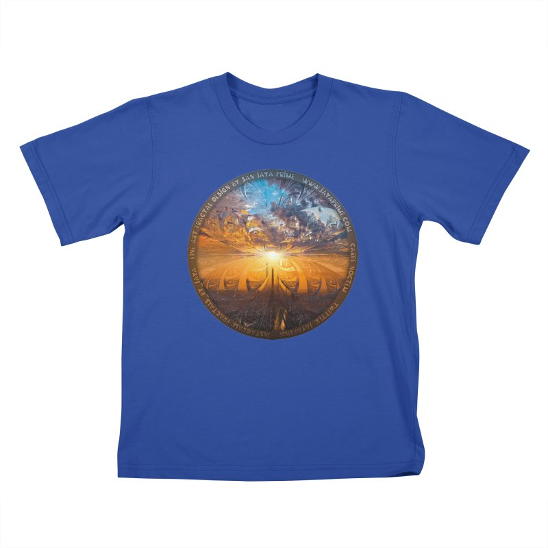 A Stained Glass Fractal Sunset Over Tianjin, China Kids T-Shirt by The Fractal Art of San Jaya Prime