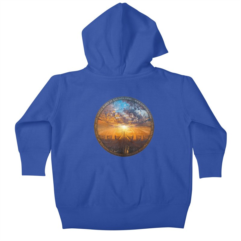 A Stained Glass Fractal Sunset Over Tianjin, China Kids Baby Zip-Up Hoody by The Fractal Art of San Jaya Prime