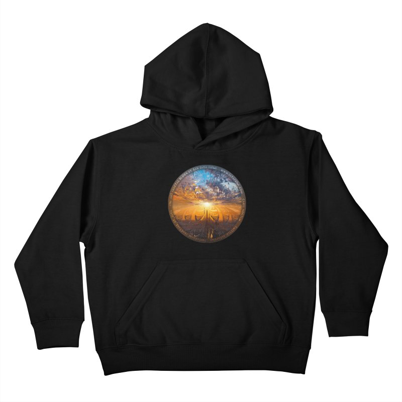 A Stained Glass Fractal Sunset Over Tianjin, China Kids Pullover Hoody by The Fractal Art of San Jaya Prime