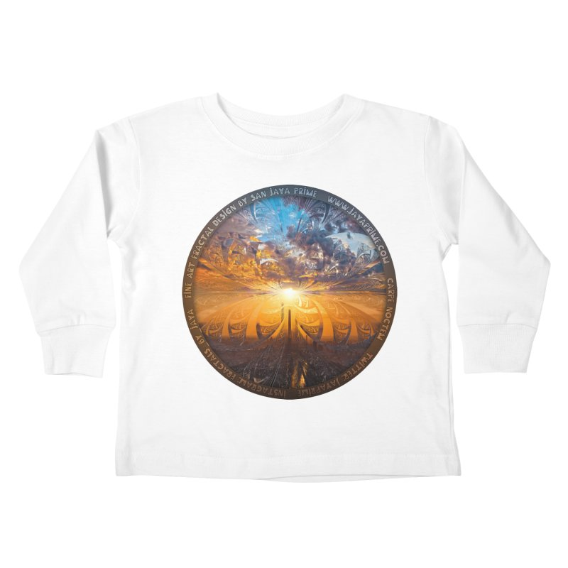 A Stained Glass Fractal Sunset Over Tianjin, China Kids Toddler Longsleeve T-Shirt by The Fractal Art of San Jaya Prime