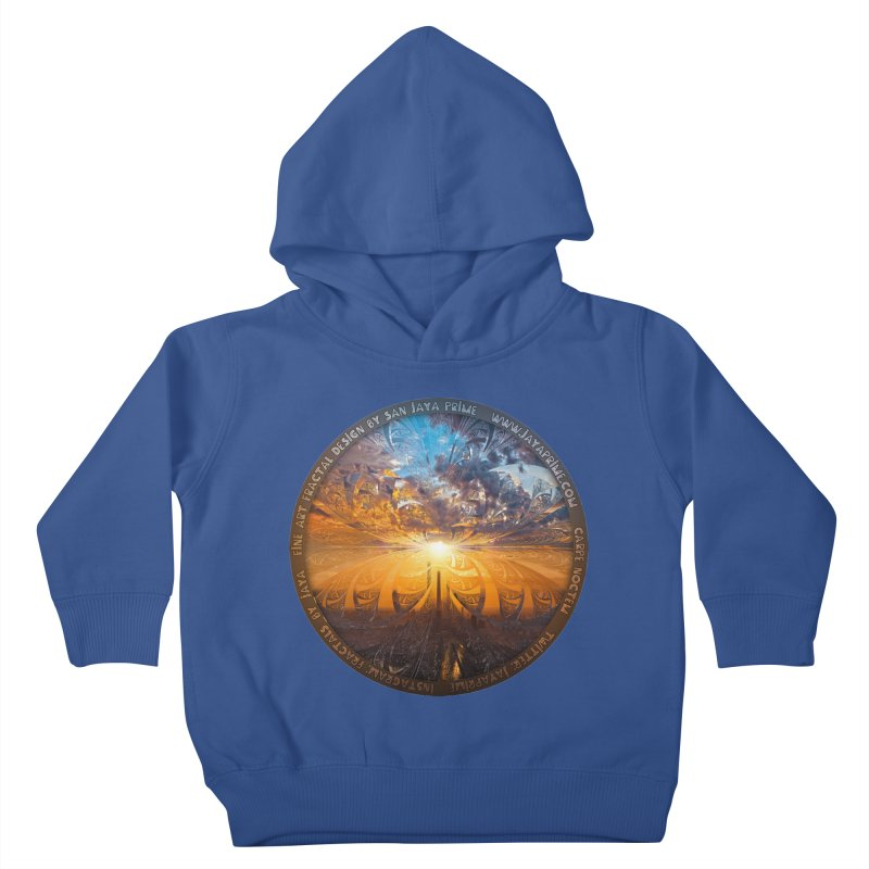 A Stained Glass Fractal Sunset Over Tianjin, China Kids Toddler Pullover Hoody by The Fractal Art of San Jaya Prime