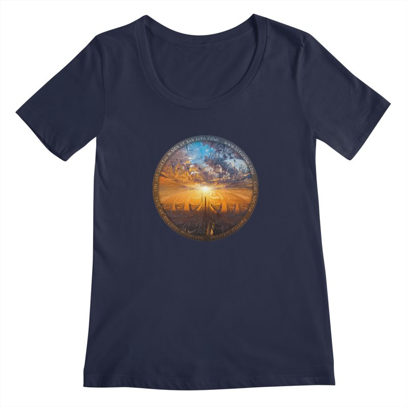 A Stained Glass Fractal Sunset Over Tianjin, China Women's Regular Scoop Neck by The Fractal Art of San Jaya Prime