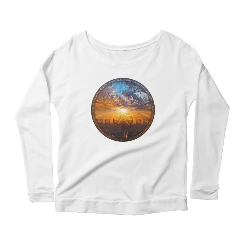 A Stained Glass Fractal Sunset Over Tianjin, China Women's Scoop Neck Longsleeve T-Shirt by The Fractal Art of San Jaya Prime