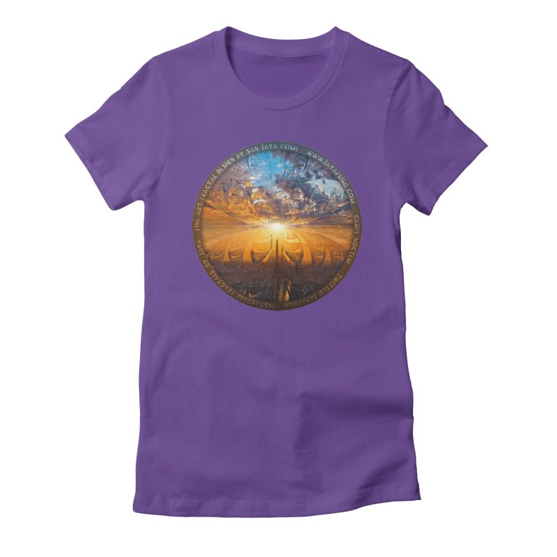 A Stained Glass Fractal Sunset Over Tianjin, China Women's Fitted T-Shirt by The Fractal Art of San Jaya Prime