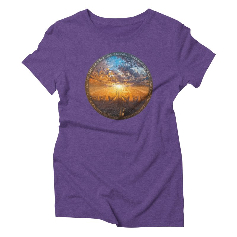 A Stained Glass Fractal Sunset Over Tianjin, China Women's Triblend T-Shirt by The Fractal Art of San Jaya Prime