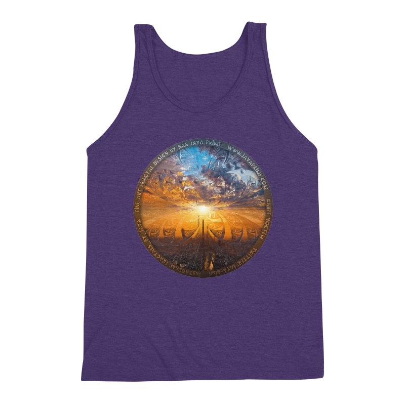 A Stained Glass Fractal Sunset Over Tianjin, China Men's Triblend Tank by The Fractal Art of San Jaya Prime