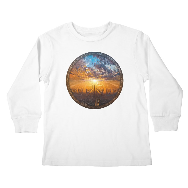 A Stained Glass Fractal Sunset Over Tianjin, China Kids Longsleeve T-Shirt by The Fractal Art of San Jaya Prime