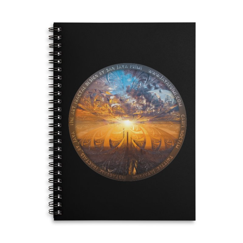 A Stained Glass Fractal Sunset Over Tianjin, China Accessories Lined Spiral Notebook by The Fractal Art of San Jaya Prime