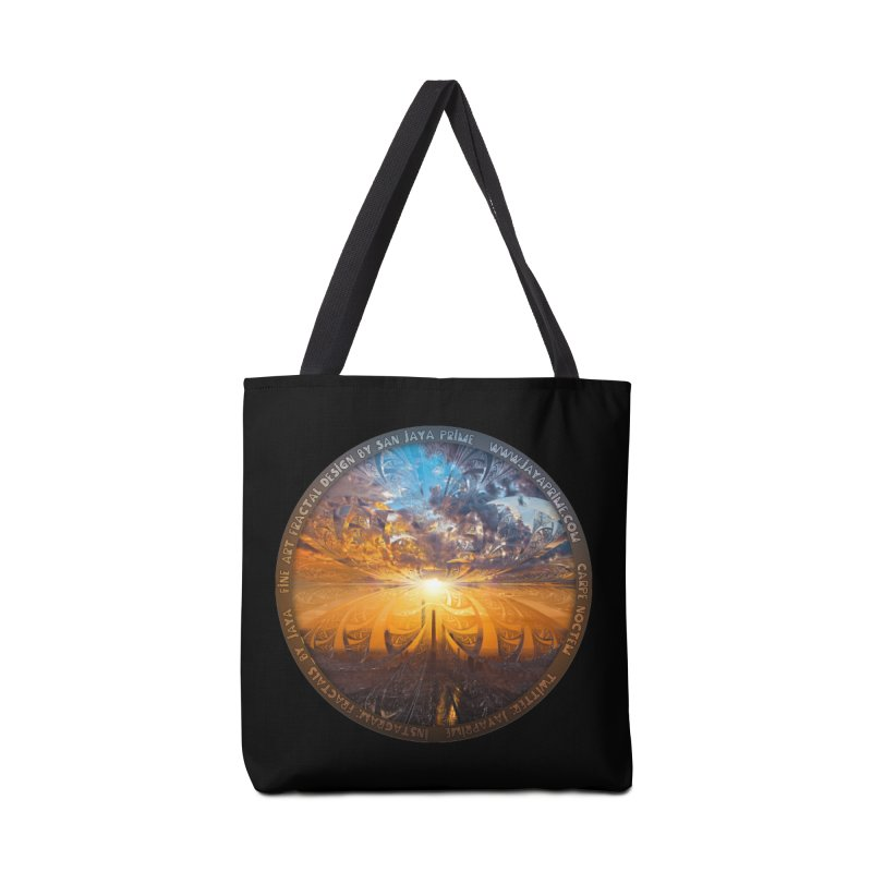 A Stained Glass Fractal Sunset Over Tianjin, China Accessories Tote Bag Bag by The Fractal Art of San Jaya Prime