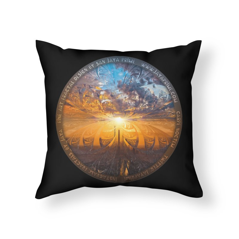 A Stained Glass Fractal Sunset Over Tianjin, China Home Throw Pillow by The Fractal Art of San Jaya Prime