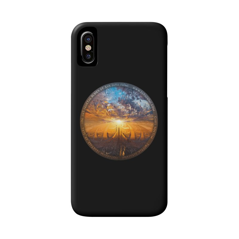 A Stained Glass Fractal Sunset Over Tianjin, China Accessories Phone Case by The Fractal Art of San Jaya Prime