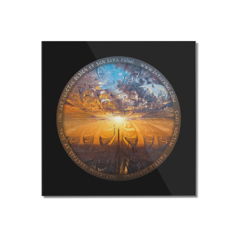 A Stained Glass Fractal Sunset Over Tianjin, China Home Mounted Acrylic Print by The Fractal Art of San Jaya Prime