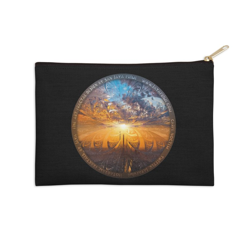 A Stained Glass Fractal Sunset Over Tianjin, China Accessories Zip Pouch by The Fractal Art of San Jaya Prime