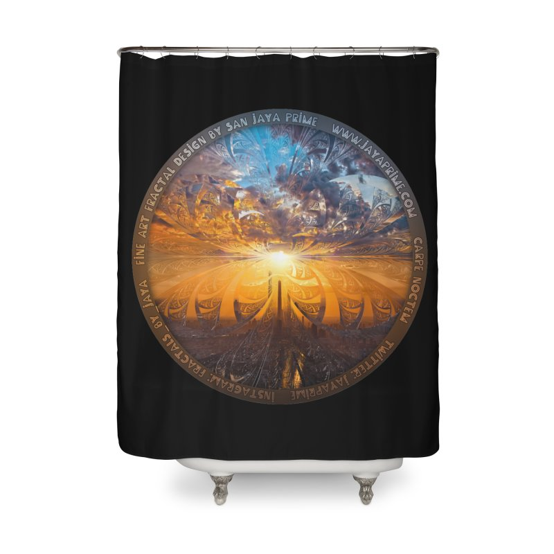 A Stained Glass Fractal Sunset Over Tianjin, China Home Shower Curtain by The Fractal Art of San Jaya Prime