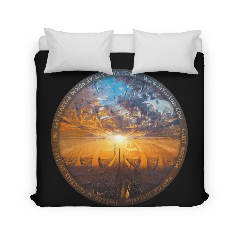 A Stained Glass Fractal Sunset Over Tianjin, China Home Duvet by The Fractal Art of San Jaya Prime