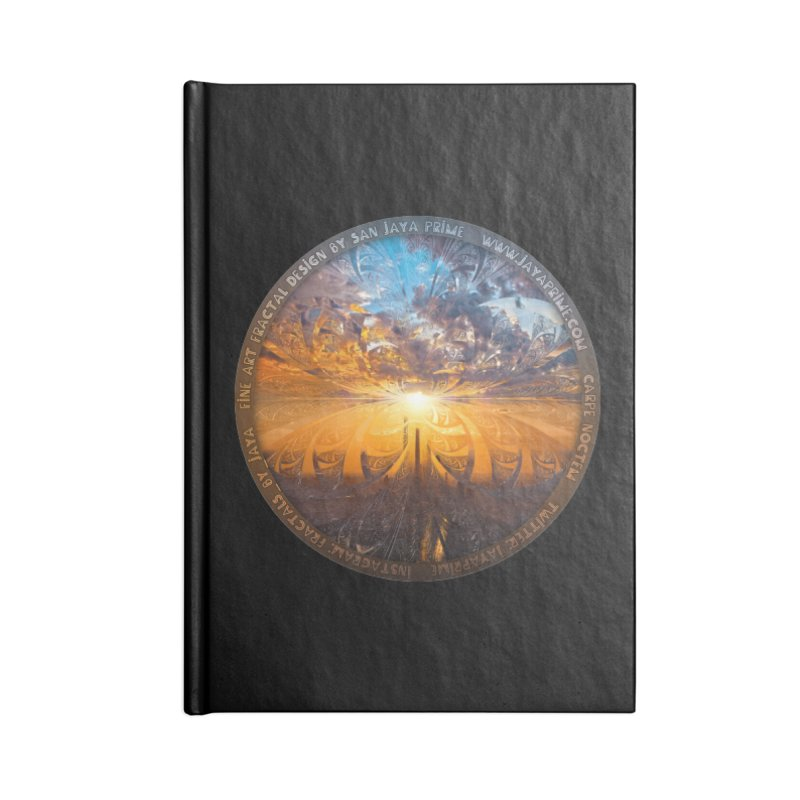 A Stained Glass Fractal Sunset Over Tianjin, China Accessories Blank Journal Notebook by The Fractal Art of San Jaya Prime