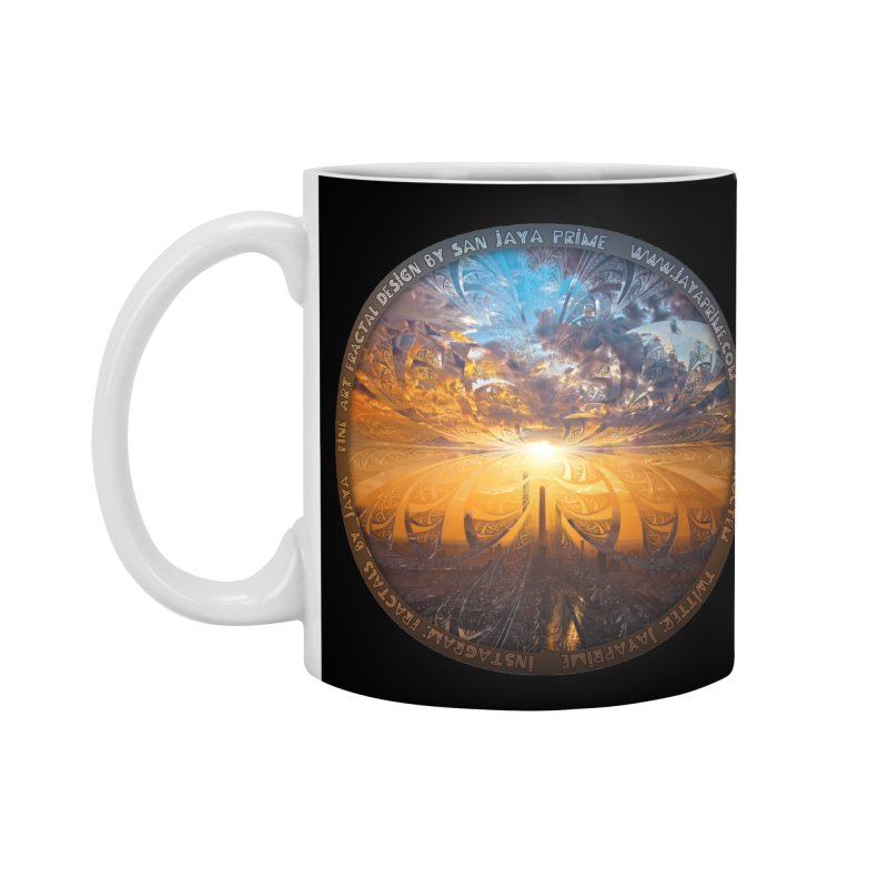 A Stained Glass Fractal Sunset Over Tianjin, China Accessories Standard Mug by The Fractal Art of San Jaya Prime