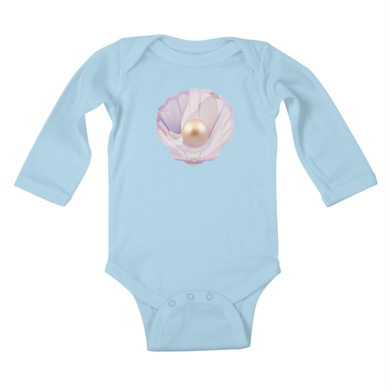 The Birth of a Pearl in a World Full of Oysters Kids Baby Longsleeve Bodysuit by The Fractal Art of San Jaya Prime