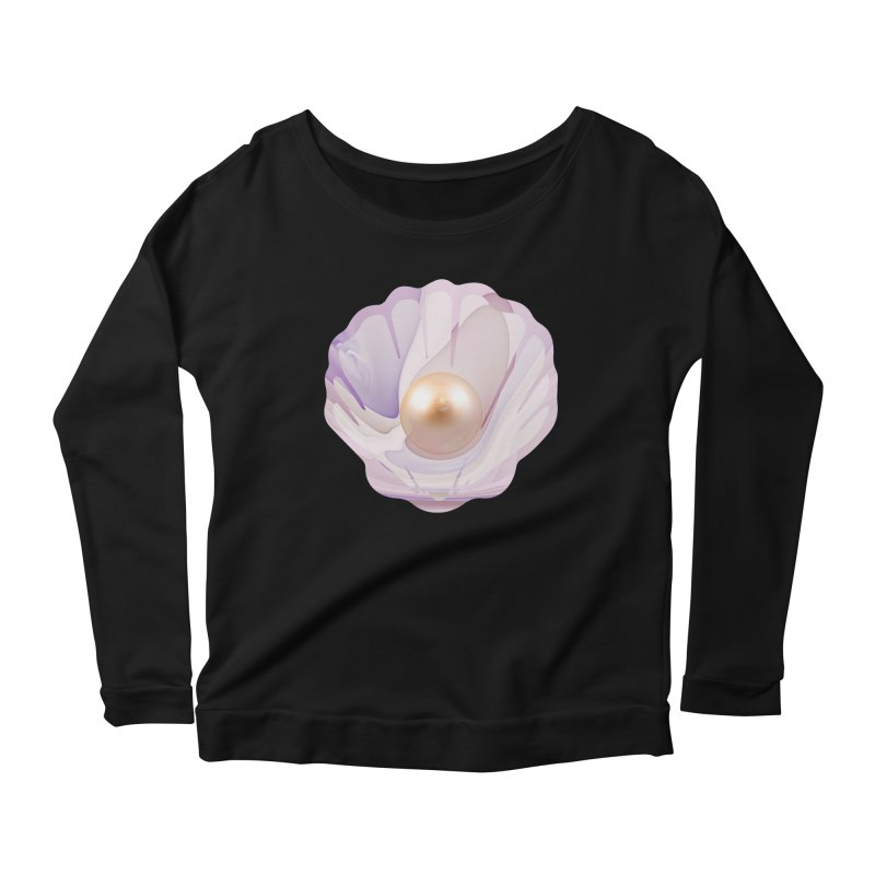 The Birth of a Pearl in a World Full of Oysters Women's Scoop Neck Longsleeve T-Shirt by The Fractal Art of San Jaya Prime