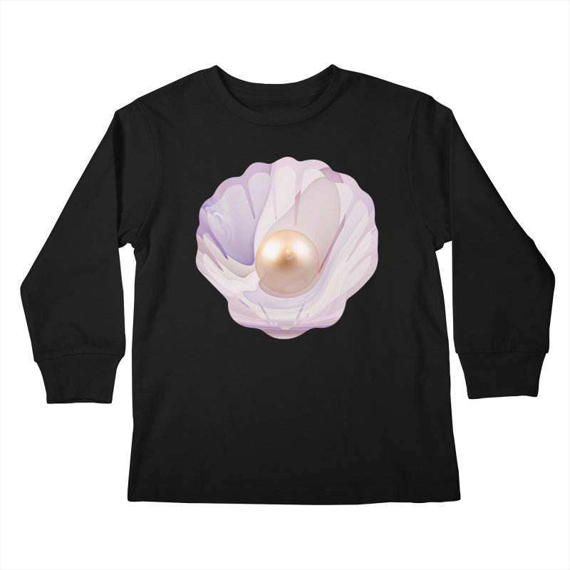 The Birth of a Pearl in a World Full of Oysters Kids Longsleeve T-Shirt by The Fractal Art of San Jaya Prime