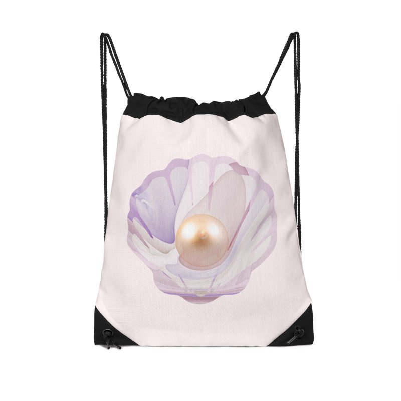 The Birth of a Pearl in a World Full of Oysters Accessories Drawstring Bag Bag by The Fractal Art of San Jaya Prime