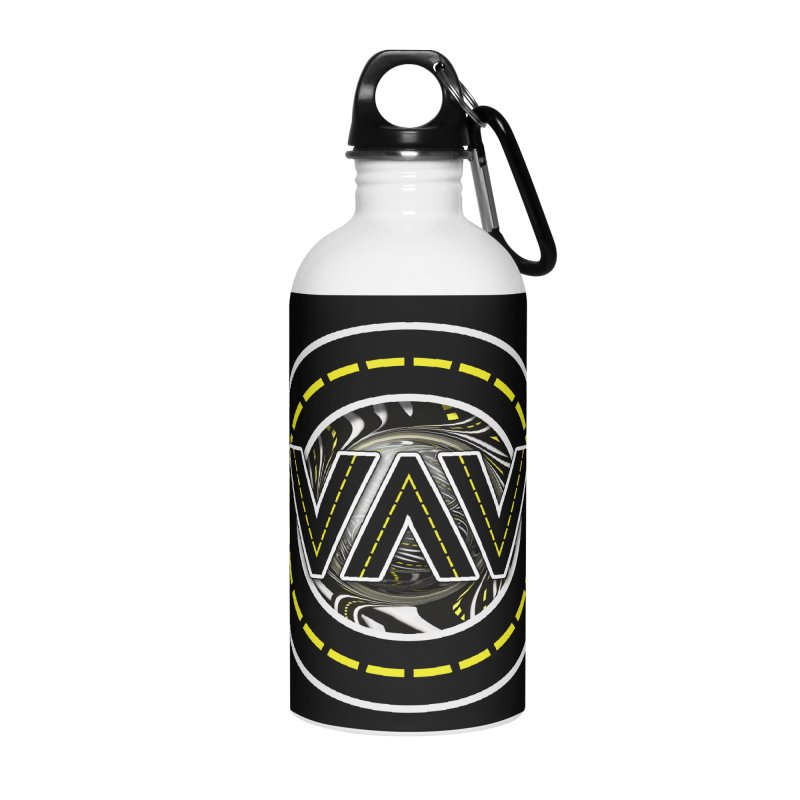 The Fractal Roads of Vans and Villains in VanLife Accessories Water Bottle by The Fractal Art of San Jaya Prime