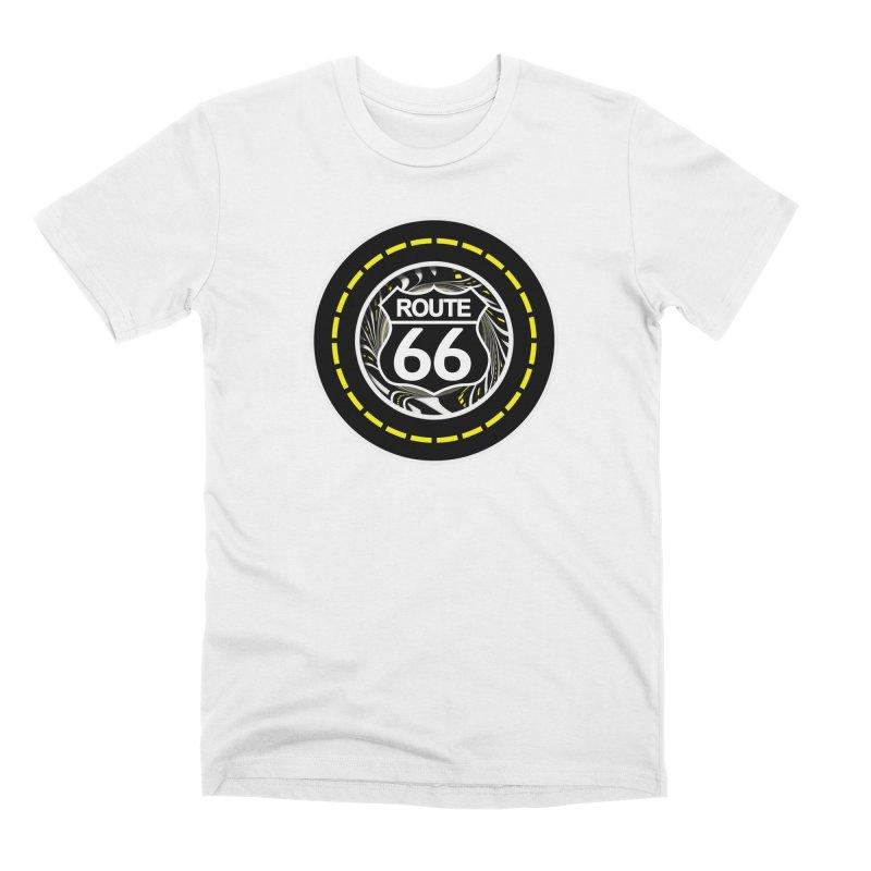 An Infinite Fractal Road on the Legendary Route 66 Men's T-Shirt by The Fractal Art of San Jaya Prime