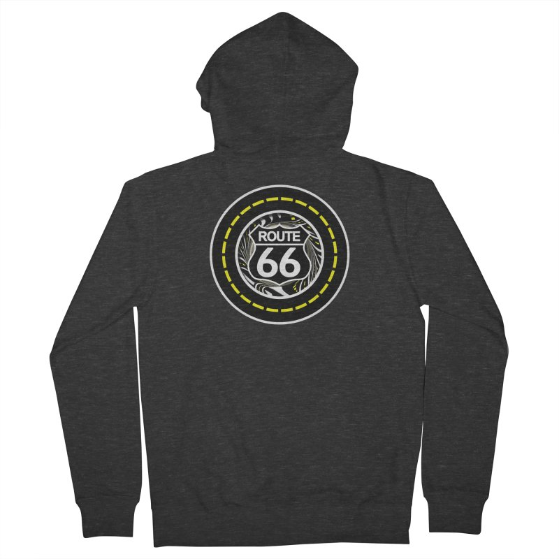 An Infinite Fractal Road on the Legendary Route 66 Men's French Terry Zip-Up Hoody by The Fractal Art of San Jaya Prime