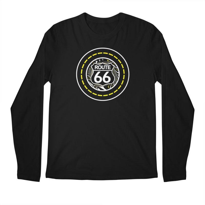 An Infinite Fractal Road on the Legendary Route 66 Men's Regular Longsleeve T-Shirt by The Fractal Art of San Jaya Prime