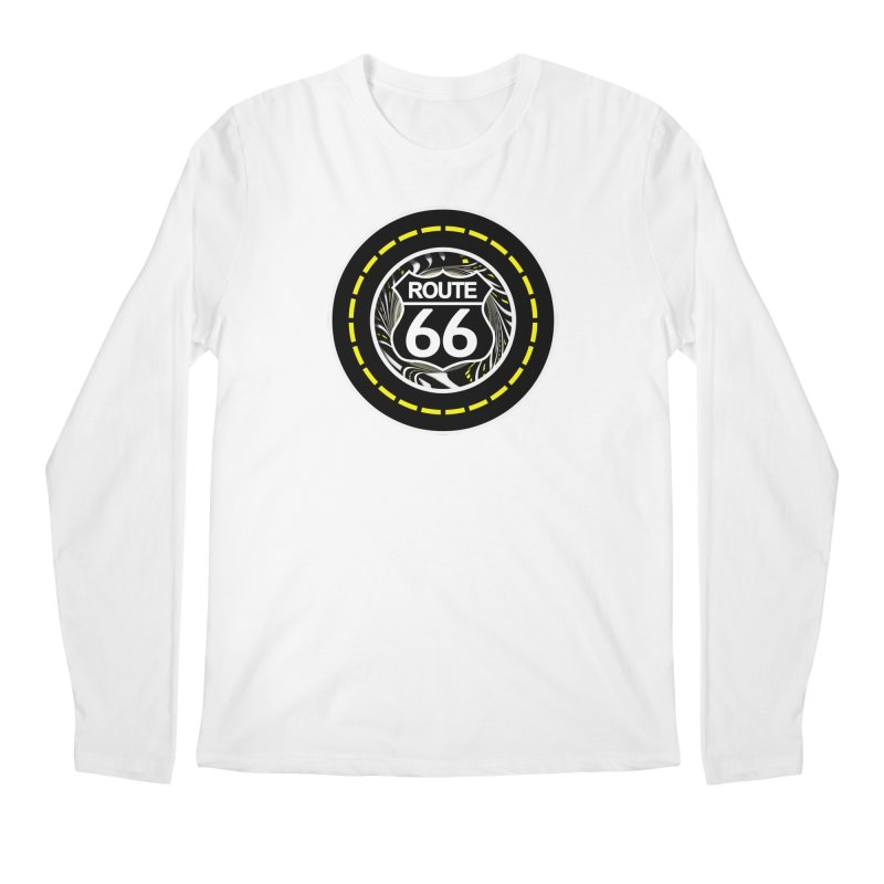 An Infinite Fractal Road on the Legendary Route 66 Men's Regular Longsleeve T-Shirt by The Fractal Art of San Jaya Prime