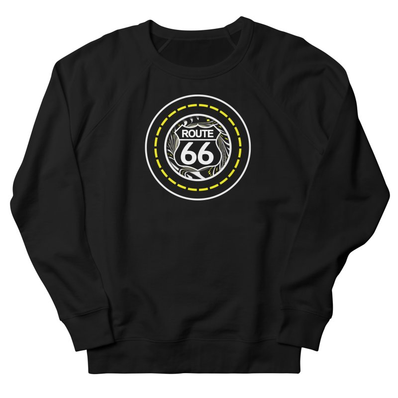 An Infinite Fractal Road on the Legendary Route 66 Women's French Terry Sweatshirt by The Fractal Art of San Jaya Prime