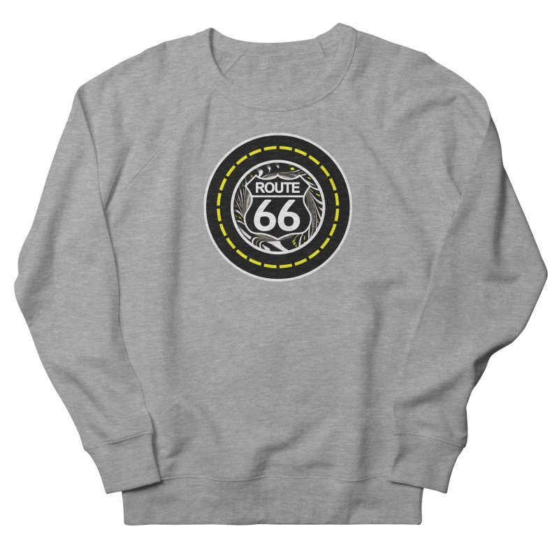 An Infinite Fractal Road on the Legendary Route 66 Men's French Terry Sweatshirt by The Fractal Art of San Jaya Prime