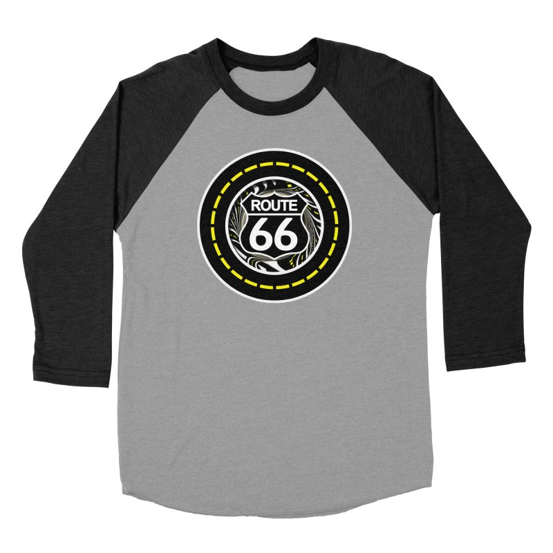 An Infinite Fractal Road on the Legendary Route 66 Women's Baseball Triblend Longsleeve T-Shirt by The Fractal Art of San Jaya Prime