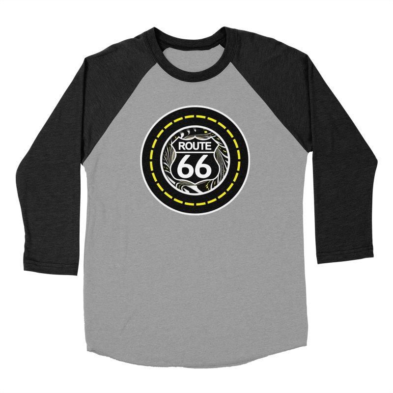 An Infinite Fractal Road on the Legendary Route 66 Men's Baseball Triblend Longsleeve T-Shirt by The Fractal Art of San Jaya Prime