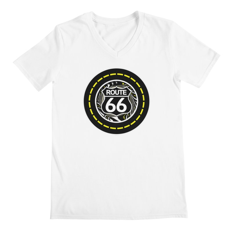 An Infinite Fractal Road on the Legendary Route 66 Men's V-Neck by The Fractal Art of San Jaya Prime