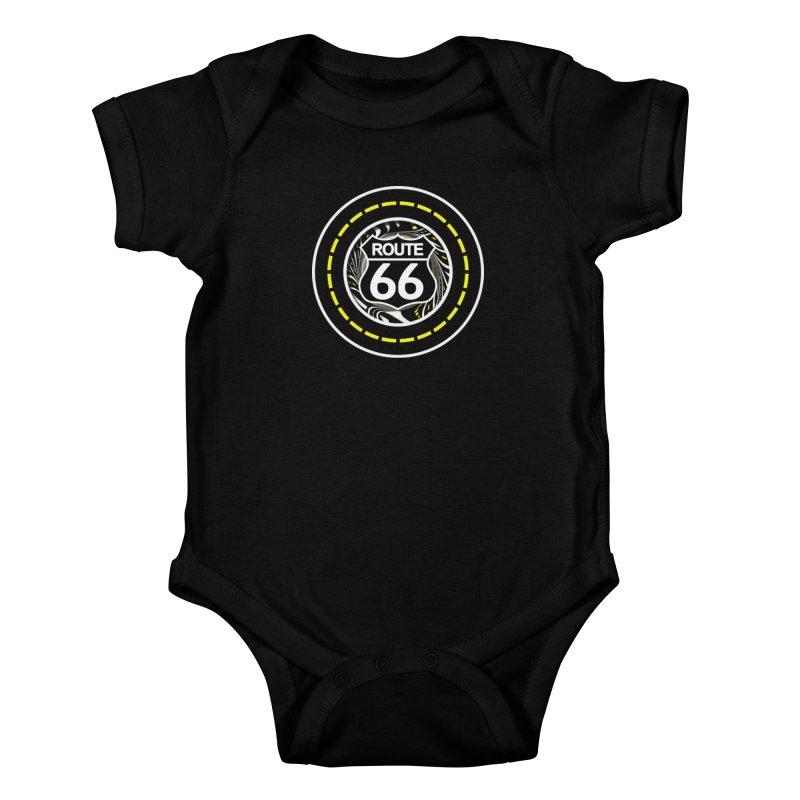 An Infinite Fractal Road on the Legendary Route 66 Kids Baby Bodysuit by The Fractal Art of San Jaya Prime