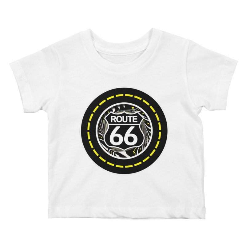 An Infinite Fractal Road on the Legendary Route 66 Kids Baby T-Shirt by The Fractal Art of San Jaya Prime
